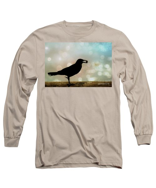 Long Sleeve T-Shirt featuring the photograph Crow With Pistachio by Benanne Stiens
