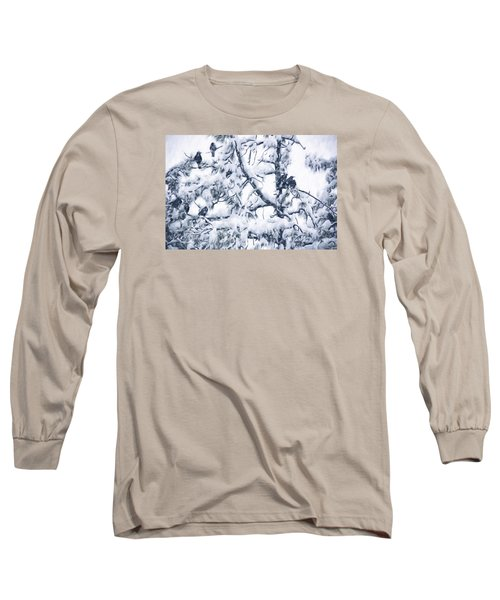 Crows In Snow Long Sleeve T-Shirt