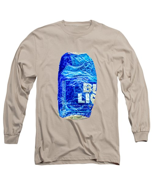 Crushed Blue Beer Can On Plywood Long Sleeve T-Shirt