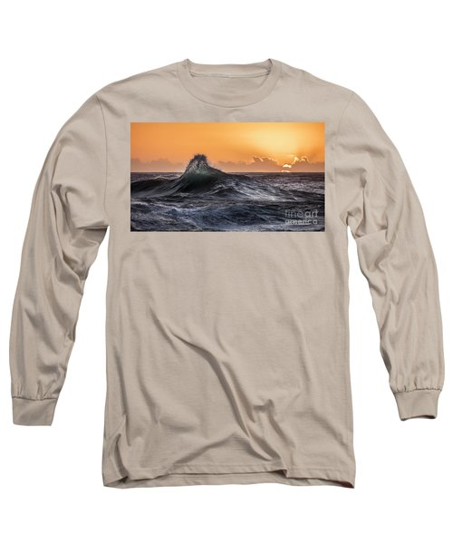 Crystal Wave Sunset Napali Coast Kauai Hawaii Long Sleeve T-Shirt