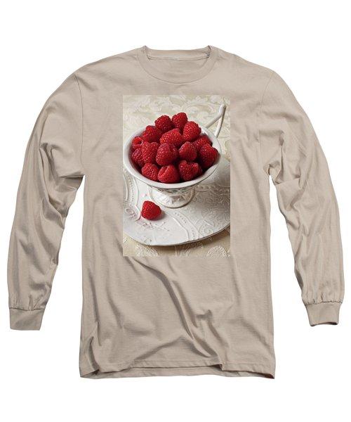 Cup Full Of Raspberries  Long Sleeve T-Shirt by Garry Gay