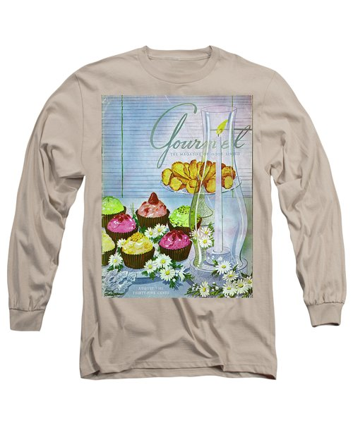 Cupcakes And Gaufrettes Beside A Candle Long Sleeve T-Shirt