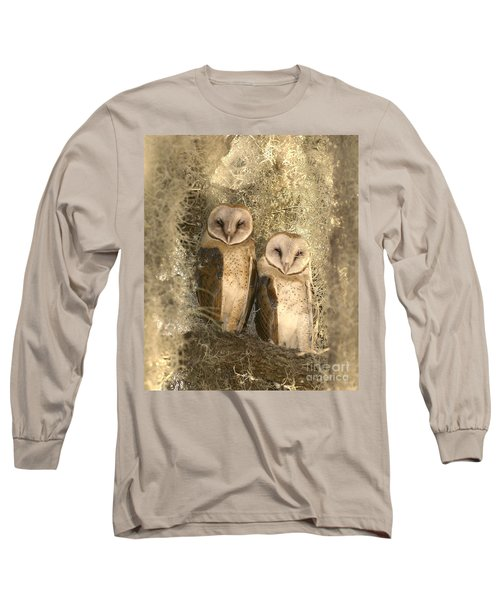 Curious Barn Owls Perched Long Sleeve T-Shirt