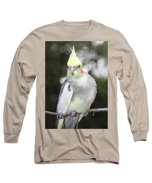 Curious Cockatiel Long Sleeve T-Shirt by Inspirational Photo Creations Audrey Woods