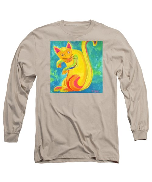 Long Sleeve T-Shirt featuring the painting Curious Kitty by Cathy Long