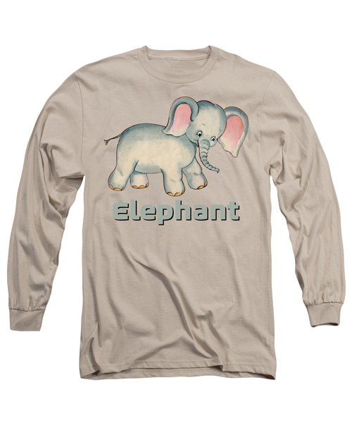 Cute Baby Elephant Pattern Vintage Illustration For Children Long Sleeve T-Shirt