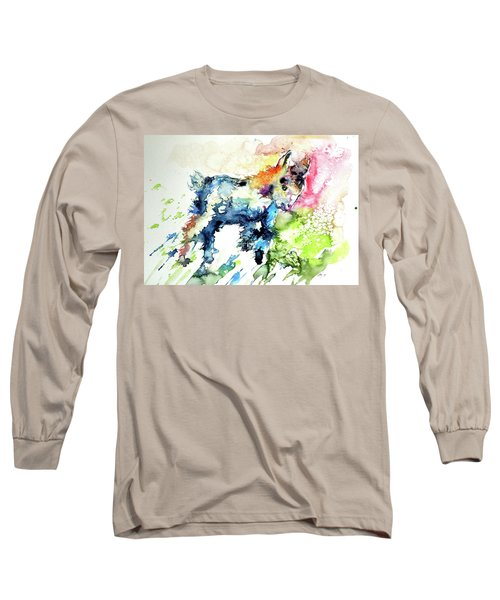 Cute Baby Goat Playing Long Sleeve T-Shirt by Kovacs Anna Brigitta