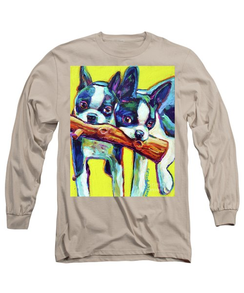 Long Sleeve T-Shirt featuring the painting Cute Boston Terriers by Robert Phelps