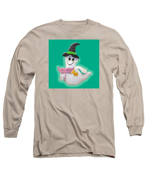 Long Sleeve T-Shirt featuring the digital art Cute Glowing Ghost by Karen Nicholson