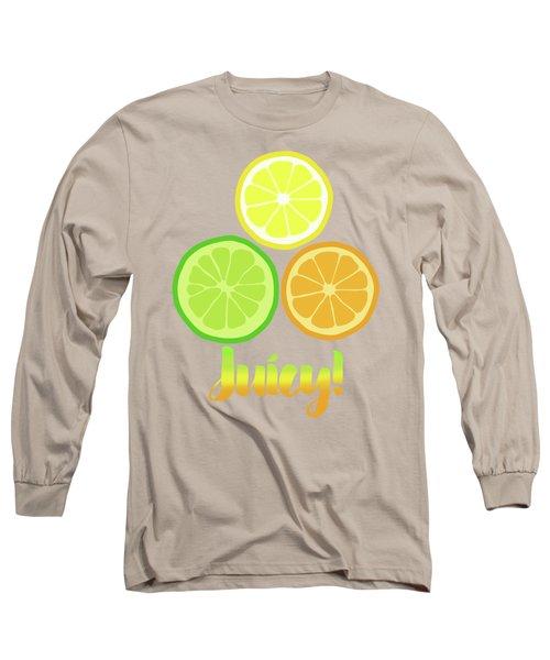 Cute Juicy Orange Lime Lemon Citrus Fun Art Long Sleeve T-Shirt by Tina Lavoie