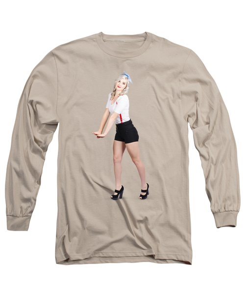 Cute Vintage Woman Isolated Over White Background Long Sleeve T-Shirt