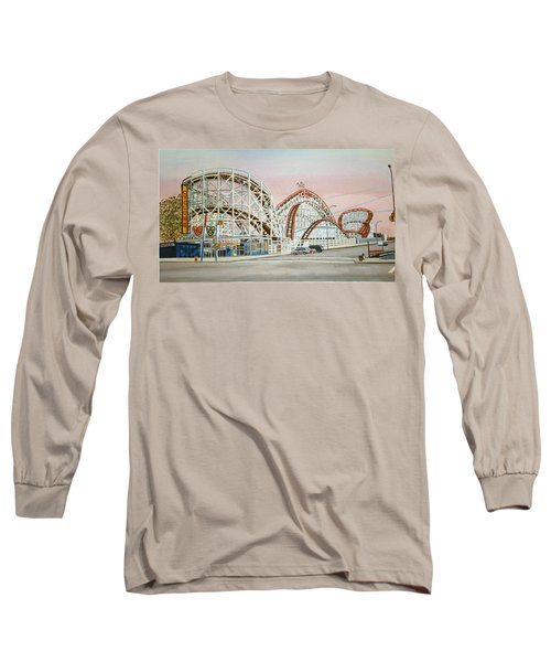 Cyclone Rollercoaster In Coney Island New York Long Sleeve T-Shirt