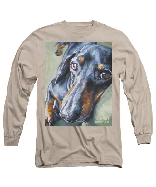 Dachshund Black And Tan Long Sleeve T-Shirt by Lee Ann Shepard