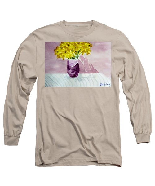 Long Sleeve T-Shirt featuring the painting Daffs by Jamie Frier