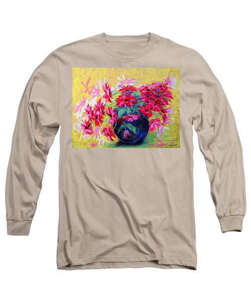 Daisies And Blue Vase Long Sleeve T-Shirt by Jasna Dragun