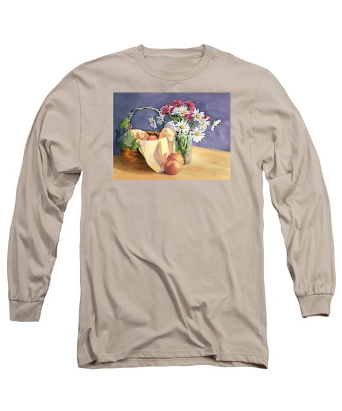 Long Sleeve T-Shirt featuring the painting Daisies And Peaches by Vikki Bouffard