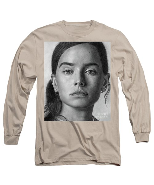 Daisy Ridley Pencil Drawing Portrait Long Sleeve T-Shirt