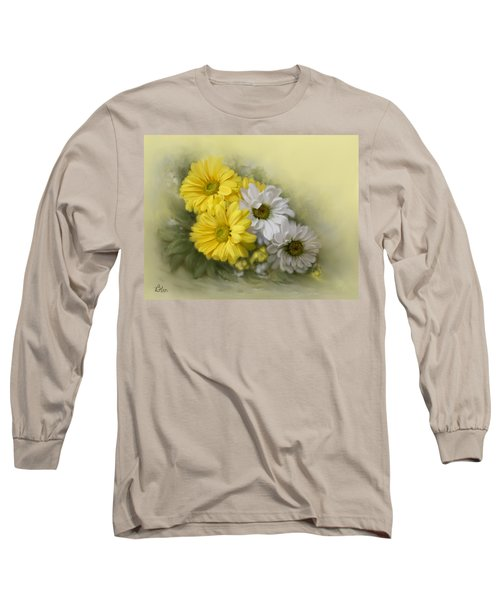 Long Sleeve T-Shirt featuring the painting Daisy Spring Bouquet by Bonnie Willis