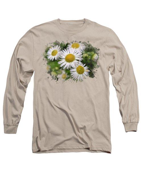 Daisy Watercolor Art Long Sleeve T-Shirt by Christina Rollo