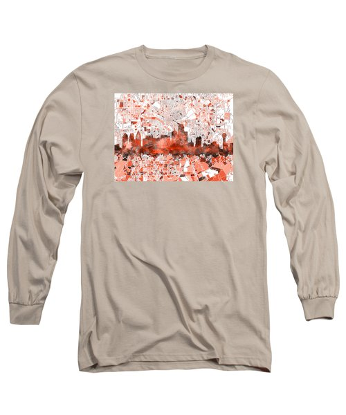 Dallas Skyline Map Red Long Sleeve T-Shirt