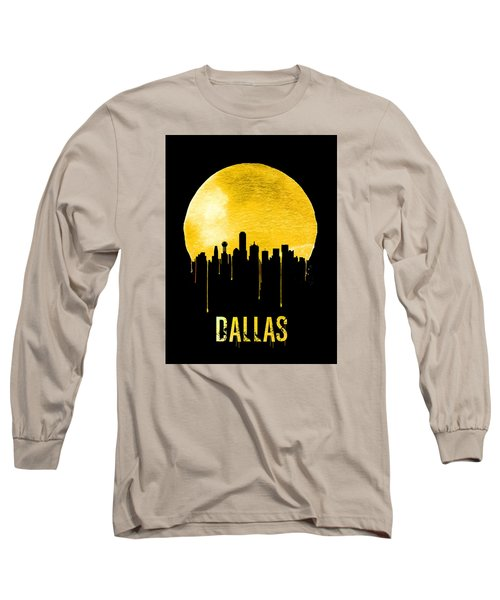 Dallas Skyline Yellow Long Sleeve T-Shirt by Naxart Studio