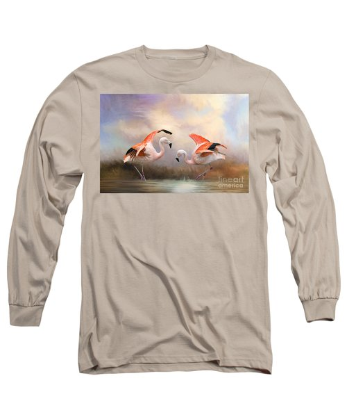 Dance Of The Flamingos  Long Sleeve T-Shirt by Bonnie Barry
