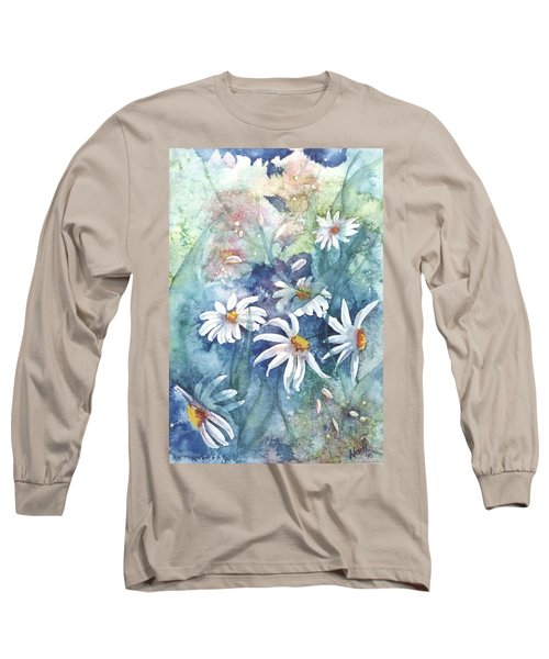 Long Sleeve T-Shirt featuring the painting Dancing Daisies by Renate Nadi Wesley