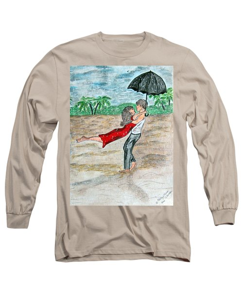 Dancing In The Rain On The Beach Long Sleeve T-Shirt by Kathy Marrs Chandler