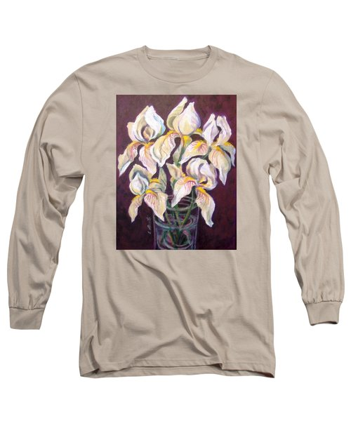 Long Sleeve T-Shirt featuring the painting Dancing Iris by Laura Aceto