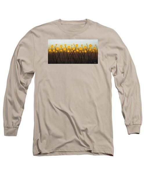 Long Sleeve T-Shirt featuring the painting Dancing Tulips by Carmen Guedez