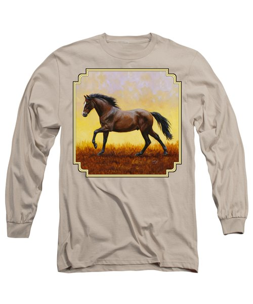 Dark Bay Running Horse Yellow Long Sleeve T-Shirt