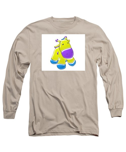 Long Sleeve T-Shirt featuring the digital art Darling Calf Cartoon by Karen Nicholson