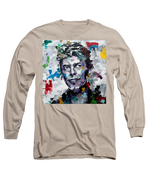 Long Sleeve T-Shirt featuring the painting David Bowie II by Richard Day