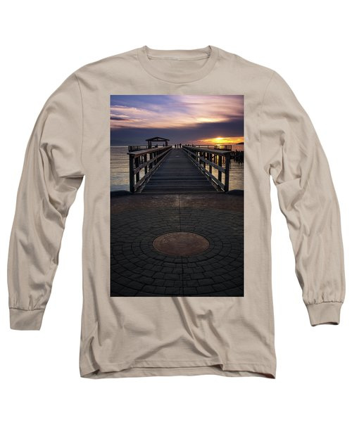 Davis Bay Pier Evening Light Long Sleeve T-Shirt