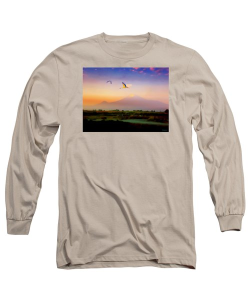 Long Sleeve T-Shirt featuring the photograph Dawn With Storks And Ararat From Night Train To Yerevan II by Anastasia Savage Ealy
