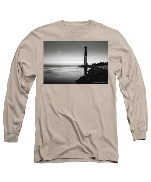 Daybreak At Barnegat, Black And White Long Sleeve T-Shirt by Eduard Moldoveanu