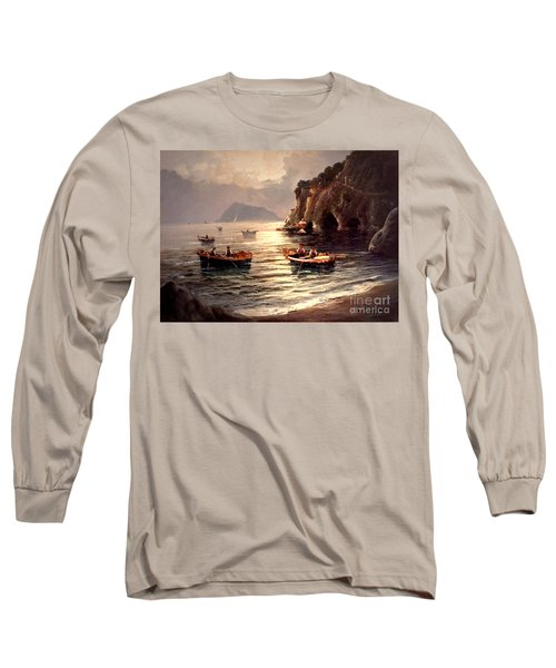Day's End And Work Begins In The Gulf Of Naples Long Sleeve T-Shirt