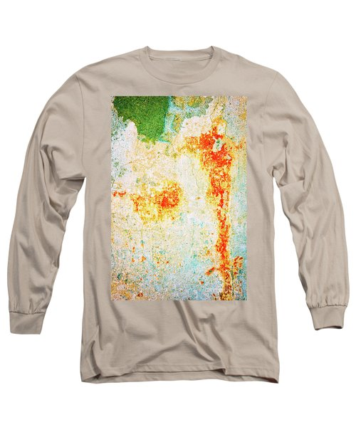 Long Sleeve T-Shirt featuring the photograph Decayed Wall With Orange Paint by Silvia Ganora