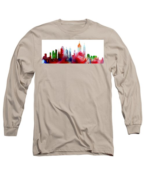 Decorative Skyline Abstract New York P1015c Long Sleeve T-Shirt