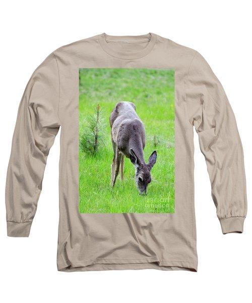 Deer In The Field Long Sleeve T-Shirt by Debby Pueschel