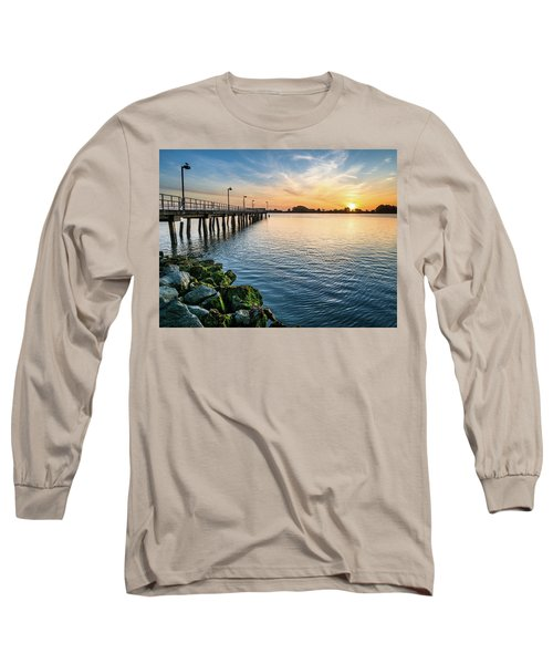 Long Sleeve T-Shirt featuring the photograph Del Norte Pier And Spring Sunset by Greg Nyquist
