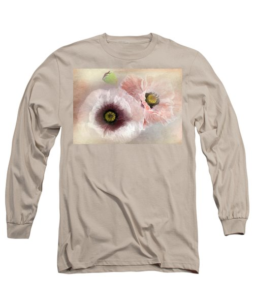 Delicate Pastel Poppies Long Sleeve T-Shirt