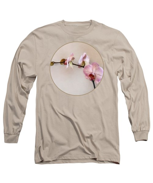 Delicate Pink Phalaenopsis Orchids Long Sleeve T-Shirt by Susan Savad