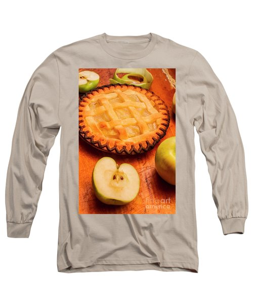 Delicious Apple Pie With Fresh Apples On Table Long Sleeve T-Shirt