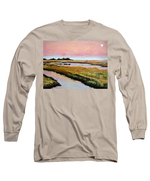 Long Sleeve T-Shirt featuring the painting Delta Sunrise by Suzanne McKee