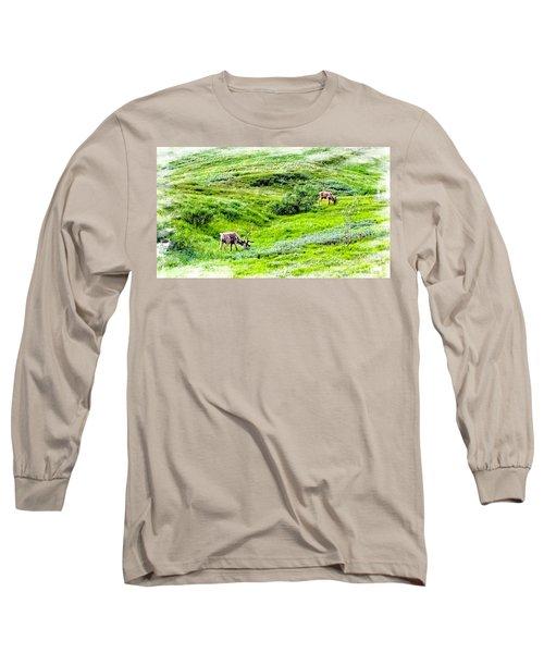 Long Sleeve T-Shirt featuring the photograph Denali National Park Caribou by Joseph Hendrix