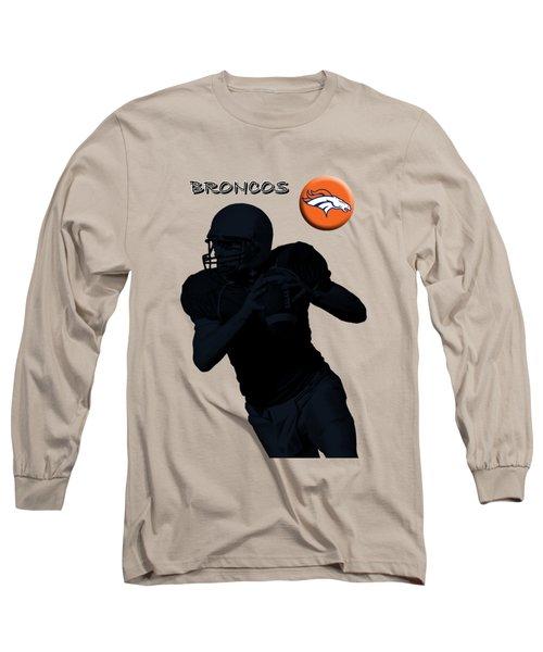 Long Sleeve T-Shirt featuring the digital art Denver Broncos Football by David Dehner
