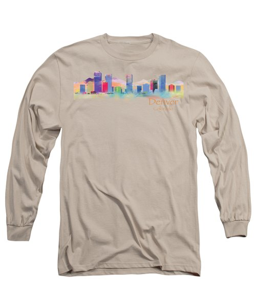 Denver Colorado Skyline Tshirts And Accessories Long Sleeve T-Shirt by Loretta Luglio
