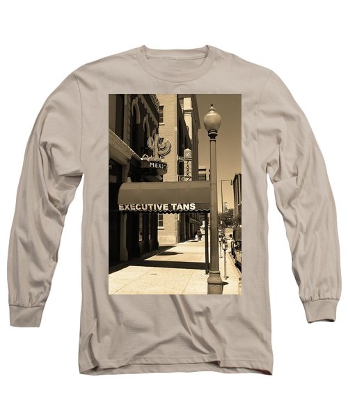 Long Sleeve T-Shirt featuring the photograph Denver Downtown Storefront Sepia by Frank Romeo