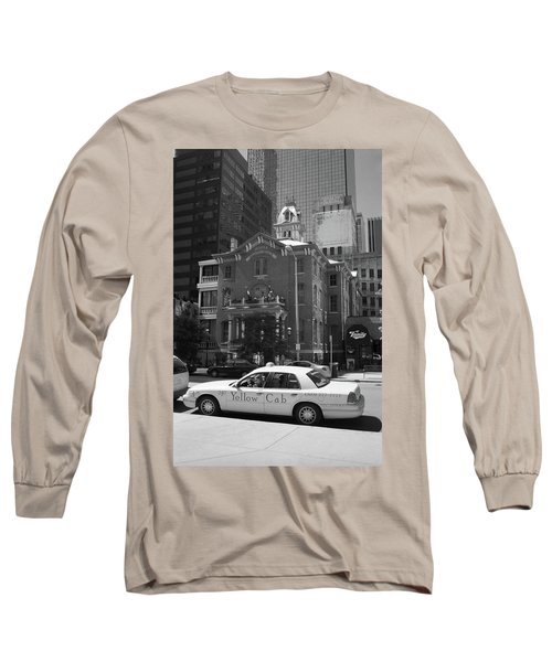 Denver Downtown With Yellow Cab Bw Long Sleeve T-Shirt by Frank Romeo